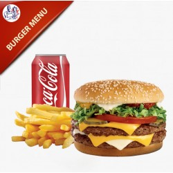 Burger Menu 200g oksekød med salat, agurk, tomat og løg, pommes frites og sodavand