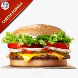 Hjemmelavet Cheese Burger 200g oksekød med salat, agurk, tomat og løg