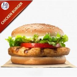 Chicken Burger med salat, agurk, tomat og løg
