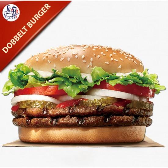 Hjemmelavet Dobbelt Burger 400g oksekød med salat, agurk, tomat og løg