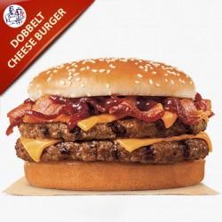 Hjemmelavet Dobbelt Cheese Burger 400g oksekød med salat, agurk, tomat og løg