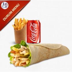Durum Menu med salat og dressing, pommes frites og sodavand