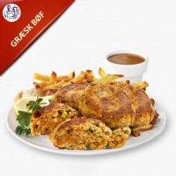 Græsk Bøf 2 stk. hjemmelavet bøffer med pommes frites, salat og dressing