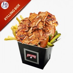 Kylling Box med pommes frites, salat og dressing