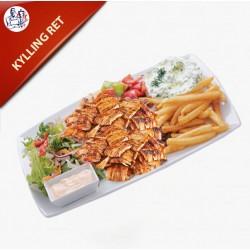 Kylling Ret med pommes frites, salat og dressing