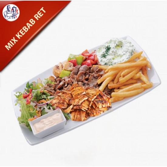 Mix Kebab Ret med kebab og kylling, pommes frites, salat og dressing