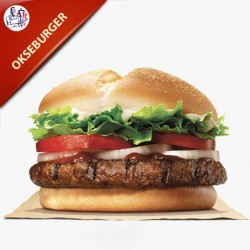 Hjemmelavet Burger 200g oksekød med salat, agurk, tomat og løg