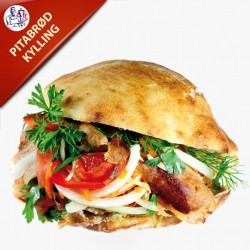 Pitabrød med kylling, salat og dressing