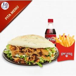 Pitabrød Menu med kebab, salat og dressing, pommes frites og sodavand