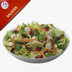 Grøn Salat med oliven, feta, tomat, agurk og rødløg